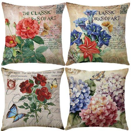 Wendana Vintage Rose Flower Throw Pillow Covers With Butterfly Stamp Retro Letter Violet Cushion Cover Set Of 4 Home Decorative Cotton Linen Square Pillow Cases For Sofa Couch 18x18 (Butterfly Flower Cover)
