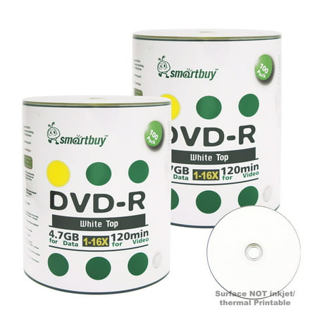 200 Sheet Special Media - 200 Pack Smartbuy 16X DVD-R 4.7GB 120Min White Top (Non-Printable) Data Blank Media Recordable Disc