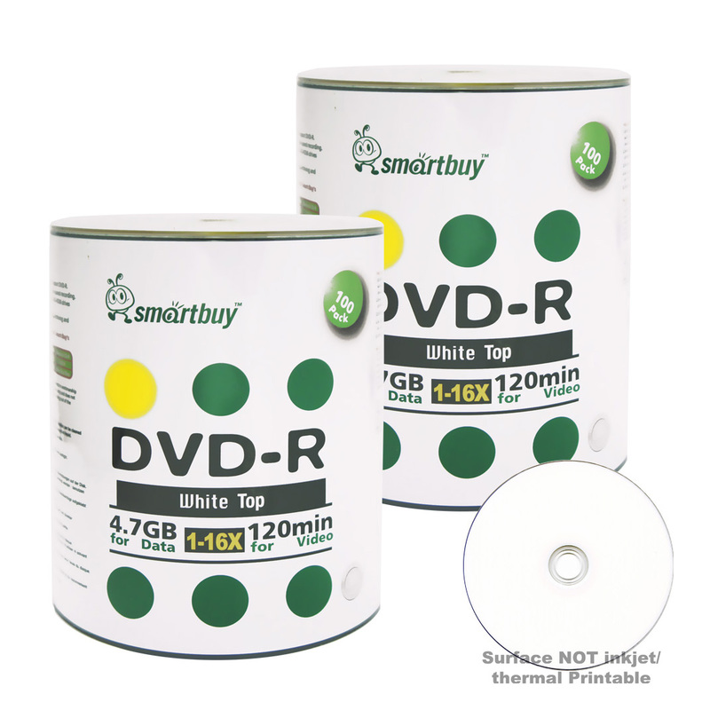 200 Pack Smartbuy 16X DVD-R 4.7GB 120Min White Top (Non-Printable) Data Blank Media Recordable Disc