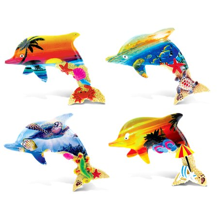 Summer Magnet CoTa Global Colorful Tropical Dolphins Summer Magnet (4pc Set) ()
