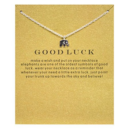 StylesILove Inspirational Quote Valentine's Day Clavicle Chain Women's Necklace in Original Package (Silver, Good Luck (Elephant Silver Pendant)