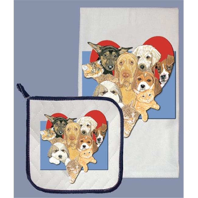 Pipsqueak Productions DP001 Dog with Cat Dish Towel And Pot Holder Set