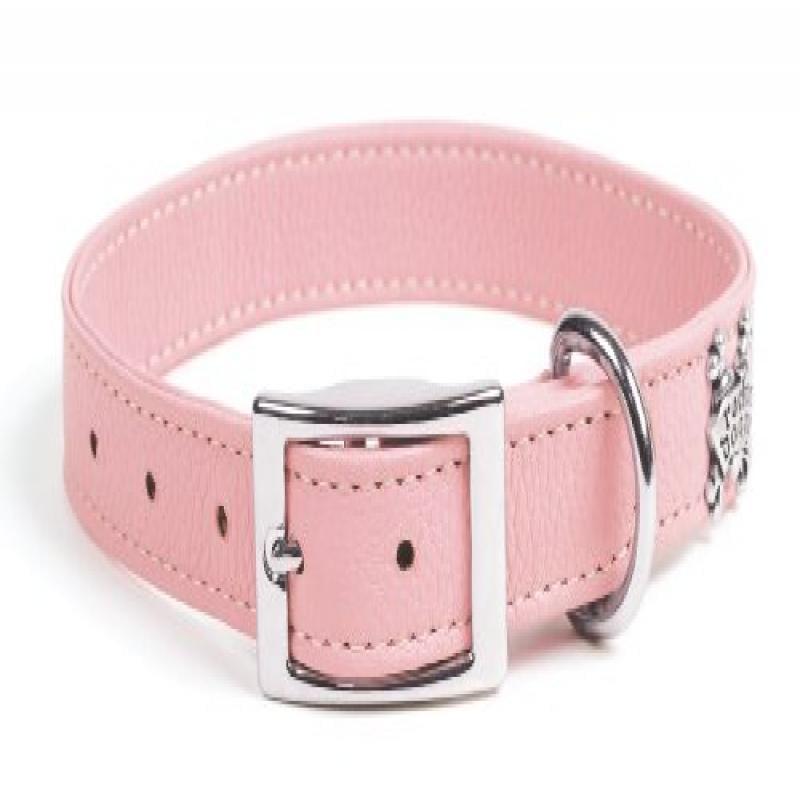 rockin' doggie Plain Leather Dog Collar, 3/4 by 14-Inch, Pink