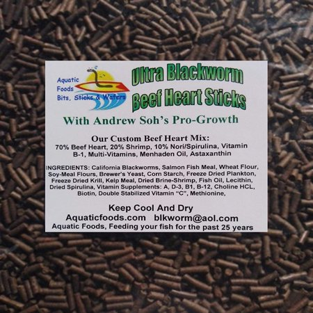 Aquatic Foods Pro-GRO Enhanced Blackworm/Beef Heart Mix Sinking Sticks for increasing Growth in Discus, Cichlids, All Tropical Fish -