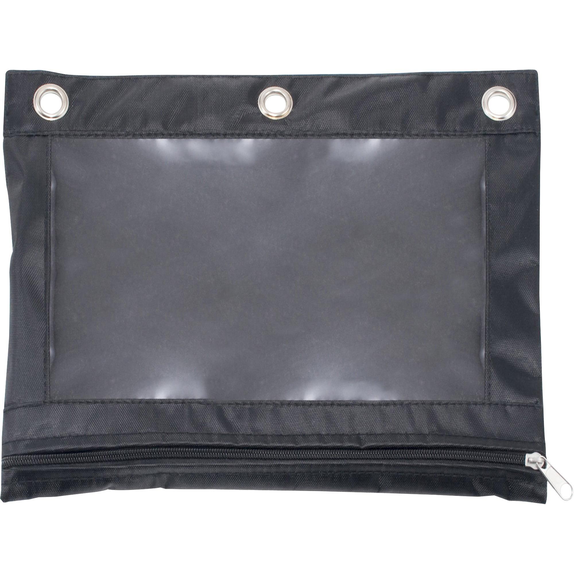 Advantus Binder Pencil Pouch, 10 x 7 3/8, Black/Clear