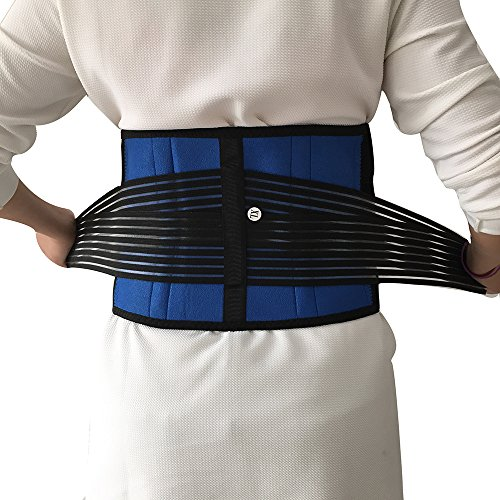"Lumbar Support - Deluxe Neoprene Double Pull Lumbar Lower Back Support Brace Exercise Belt- Unisex (S: 92cm/36"", Black&blue)"