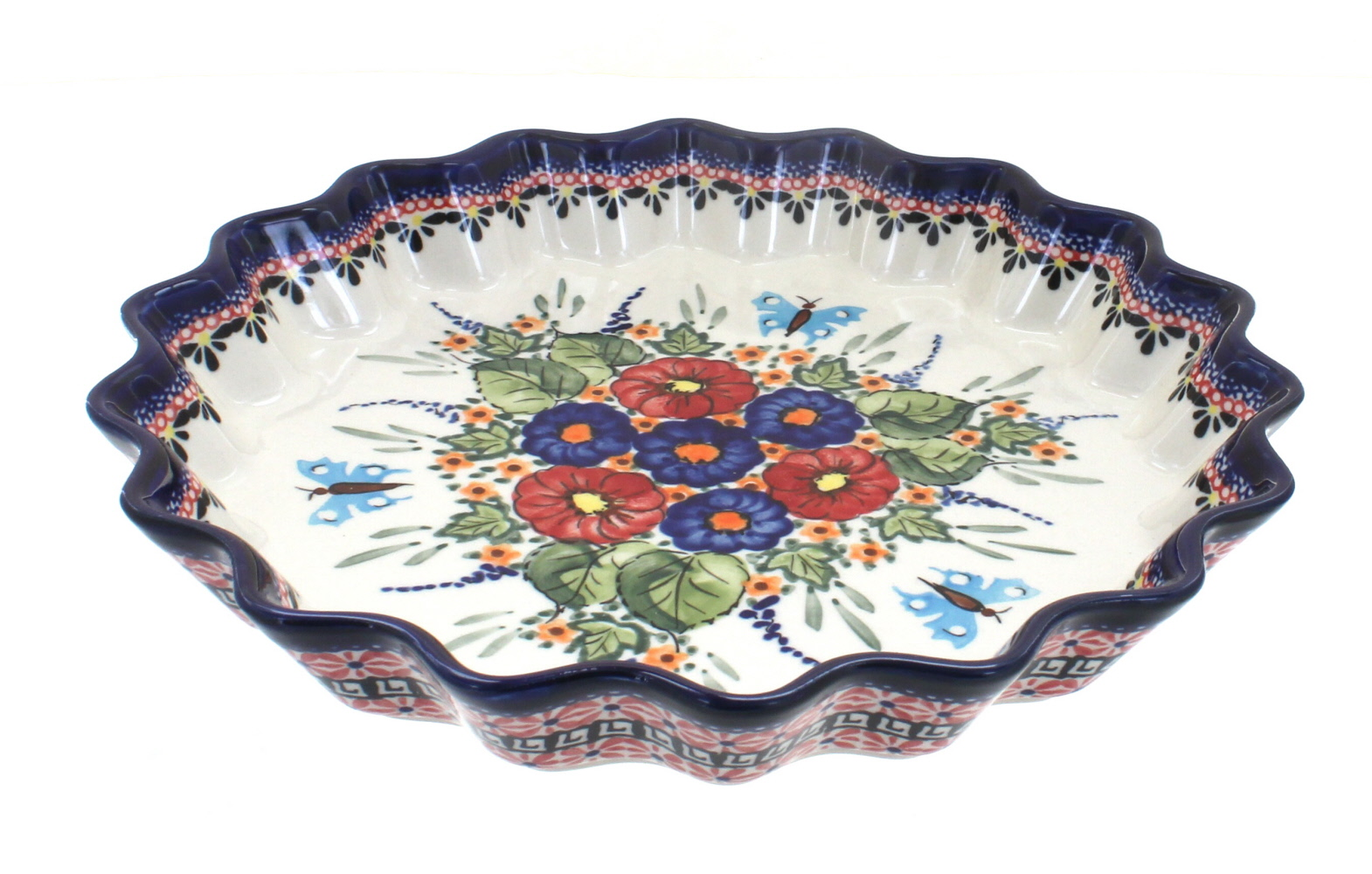 Polish Pottery Floral Butterfly Large Fluted Quiche Dish by