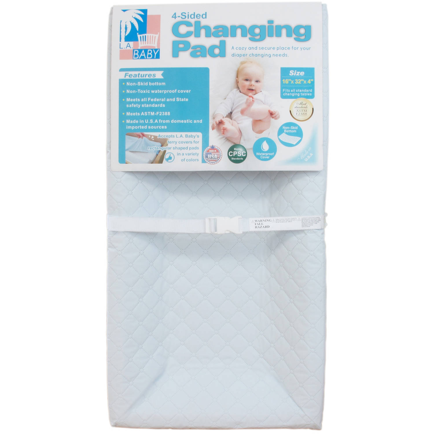 "LA Baby 32"" 4-Sided Pad, White"