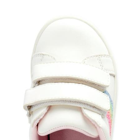 Wonder Nation Toddler Girl Rainbow Stripe Hook & Loop Casual Low-Top Court Sneaker