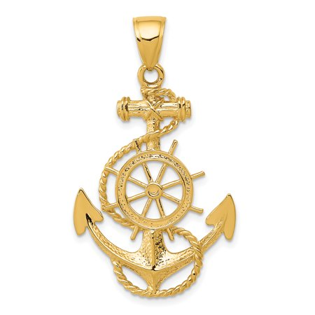 14kt Yellow Gold Large Nautical Anchor Ship Wheel Mariners Pendant Charm Necklace Sea Shore Fine Jewelry Ideal Gifts For Women Gift Set From Heart - Nautical Jewelry