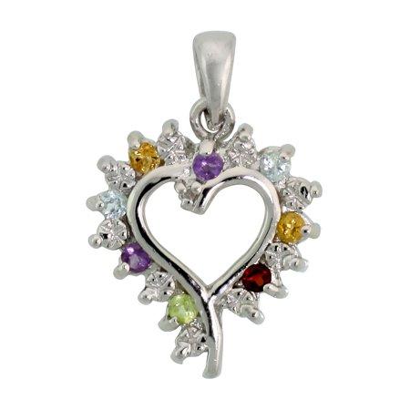 - Sterling Silver Cut Out Heart Pendant w/ 3mm Brilliant Cut Natural Multi-Color Gem Stones, 3/4
