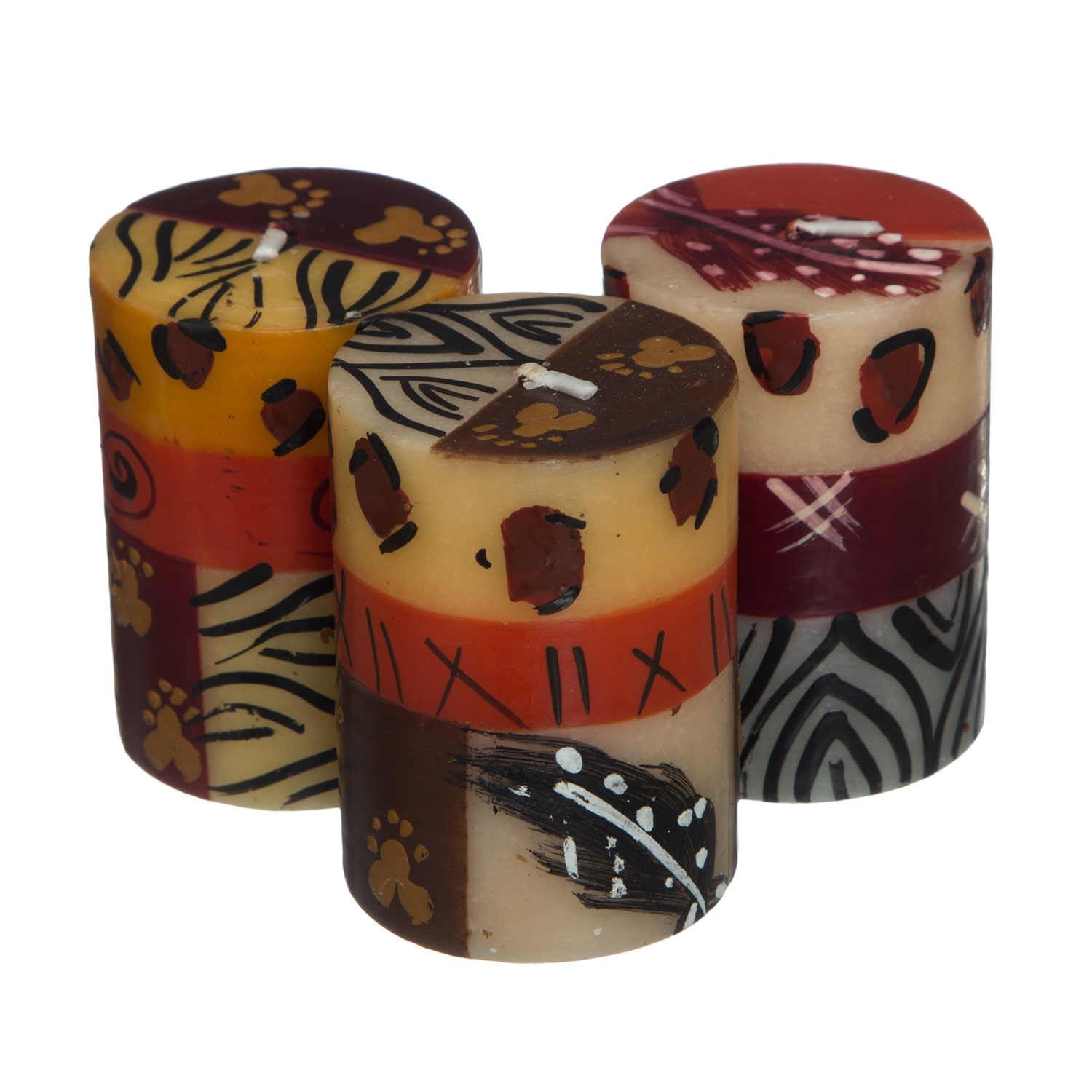 Global Crafts Set of 3 Boxed Handmade Uzima Design Mini-Pillar Candles (South Africa)