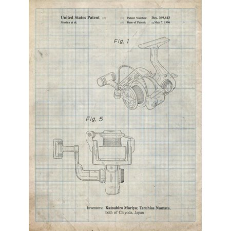 PP973-Antique Grid Parchment Open Face Spinning Fishing Reel Patent Poster Print Wall Art By Cole Borders