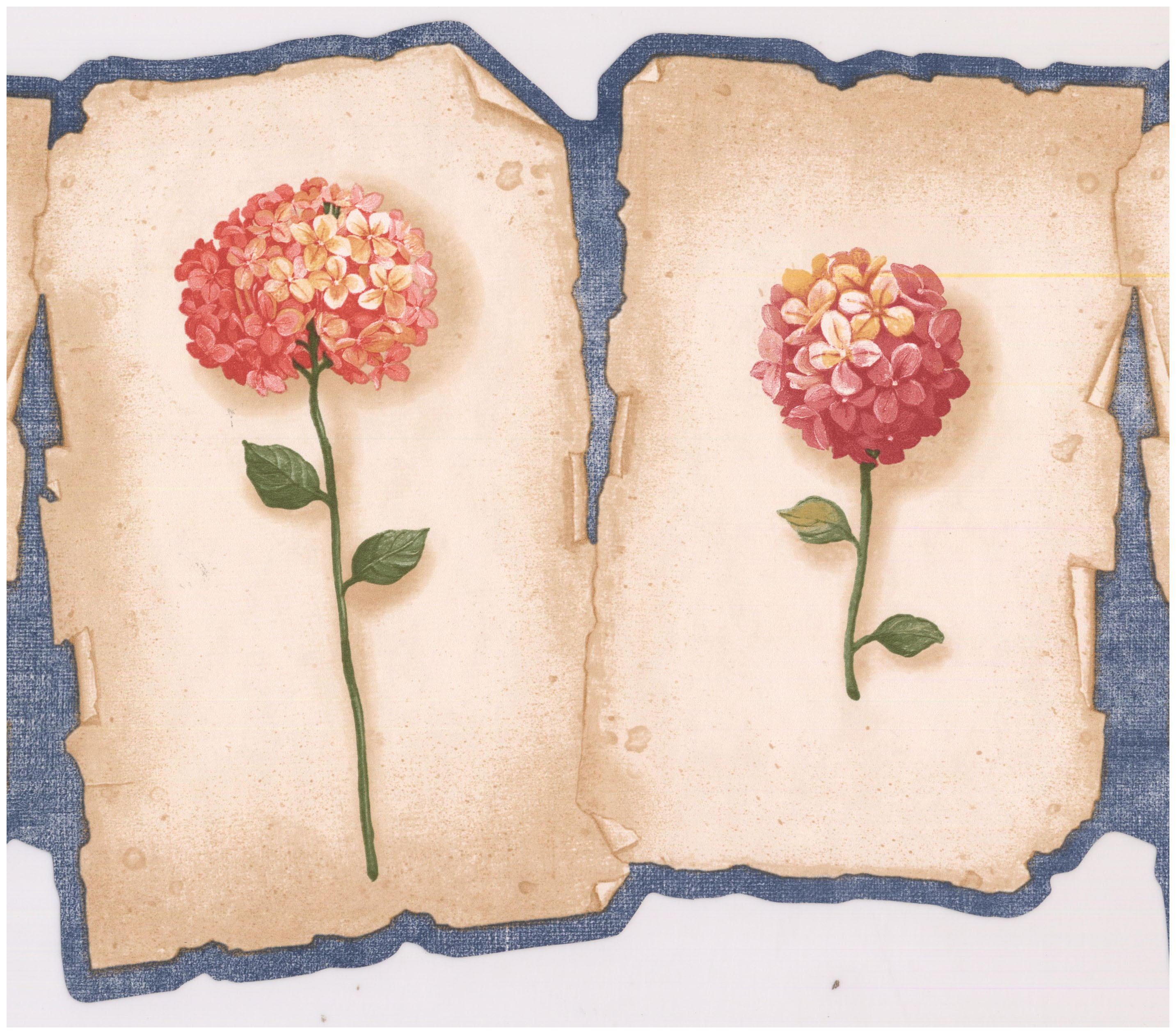 Prepasted Wallpaper Border Red Pink Hydrangea Hortensia Flowers