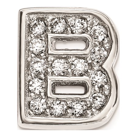 925 Sterling Silver Rhodium plated CZ Letter B Slide Pendant / Charm - image 1 de 1