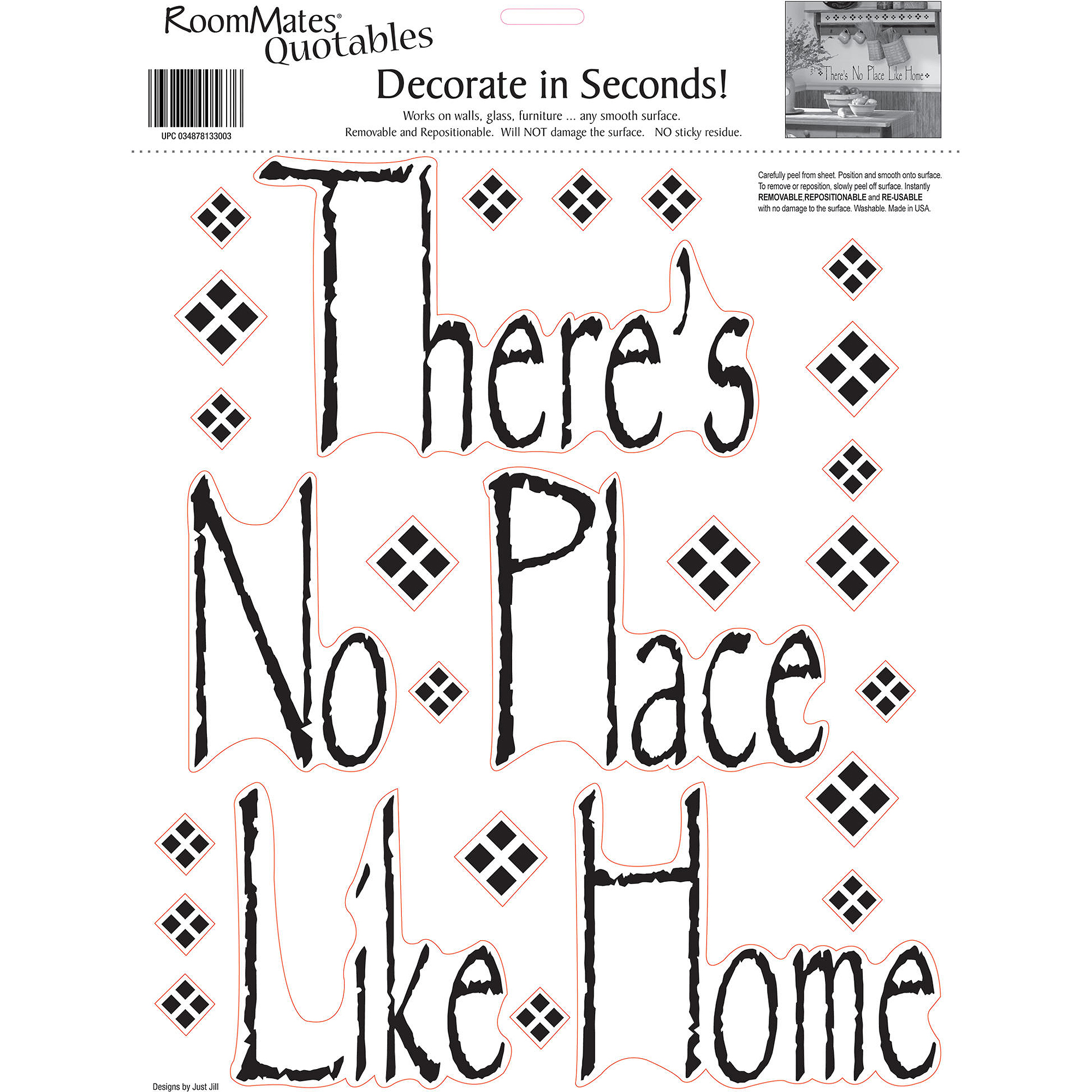RoomMates There Is No Place Like Home Peel and Stick Wall Decals, Single Sheet
