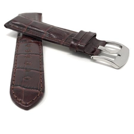 20mm Mens' Alligator Style Leather Watch Band Strap, Glossy Finish, Stainless Steel Buckle - image 1 de 7