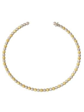 Sterling Silver 18 Karat Gold Plated Bead Two Tone Diamond Cut Bangle