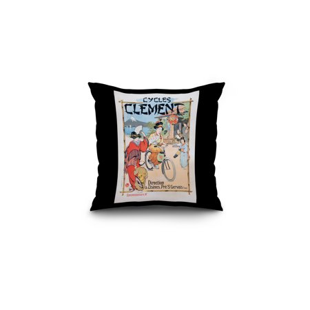 Cycles Clement Vintage Poster (artist: Leverd) France c. 1890 (16x16 Spun Polyester Pillow, Black Border)
