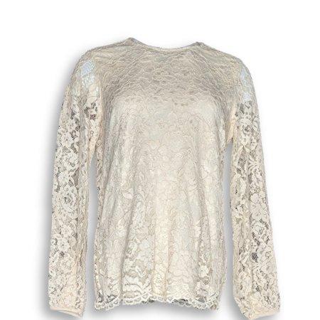 Martha Stewart Women's Top Sz XS Corded Lace Long Sleeve Ivory A345113 Martha Stewart Doily Lace