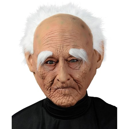 Creepy Old Man with Hair Mask Adult Halloween Accessory - Halloween Masks For Men
