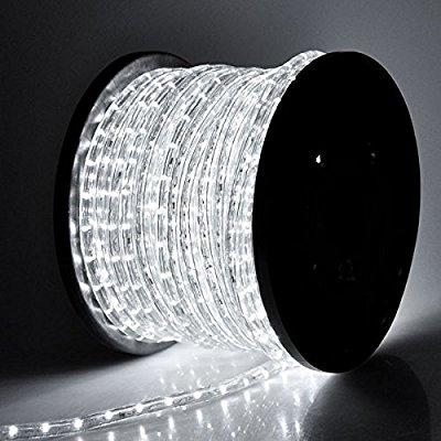 cool white 150ft 2-wires flexible 1620 bulbs led rope lights w/ power cords connectors 110v for indoor outdoor home lighting holiday christmas party restaurant caf decoration