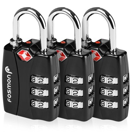 Digit Indicator (Fosmon [3 Pack] Luggage Locks TSA Approved Open Alert Indicator 3 Digit Combination Padlock for Suitcase, Gym & More)