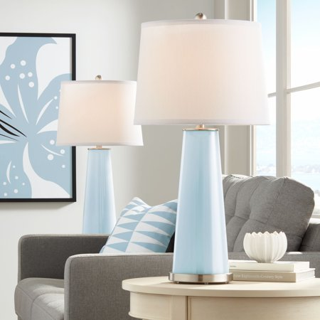 Color Plus Modern Table Lamps Set of 2 Vast Sky Blue Glass Tapered Column Plain White Drum Shade for Living Room Family Bedroom