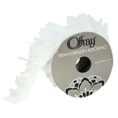 """Offray 7/8"""" White Antique Ruffle Tulle Trim, 1 Yards, 1 Each"""