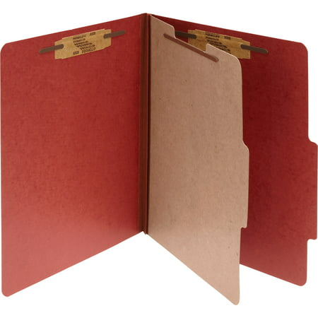 ACCO Pressboard 25-Pt Classification Folders, Letter, 4-Section, Earth Red, 10/Box Acco Recycled Classification Folders