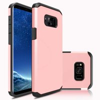 Galaxy S8 Plus Case, Dual Layer Protective Hybrid Armor Defender Case (Rose Gold)