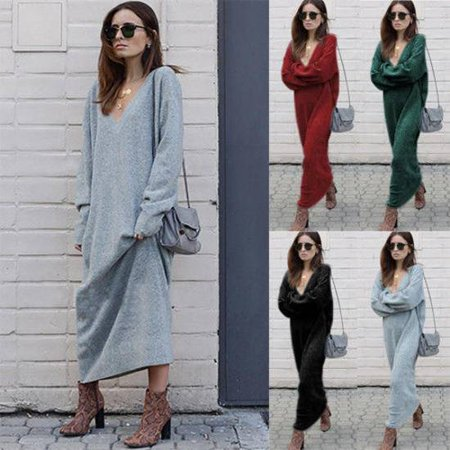 Womens V Neck Long Sleeve Pullover Tops Sweater Long Winter Casual Warm Dress
