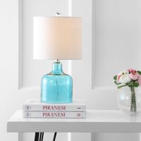 """Gemma 19"""" Glass Bell LED Table Lamp, Moroccan Blue"""