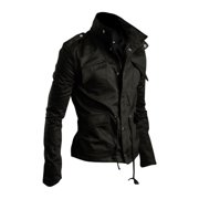 Azzuro Men's Multi-Pockets Zip Up Twill Jackets Black (Size M / 40)