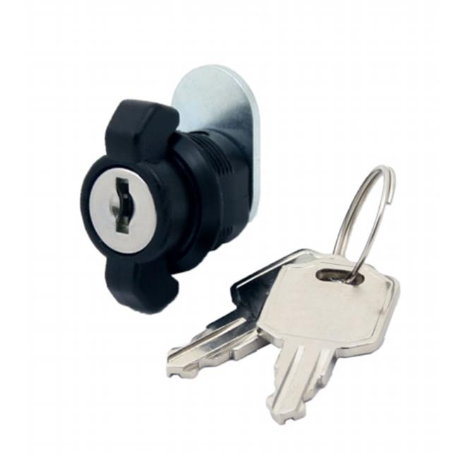 FJM Security MEI-3716-BLK-KA T-Handle Cam Lock With Spun-On Cam  Black -Pack of 4