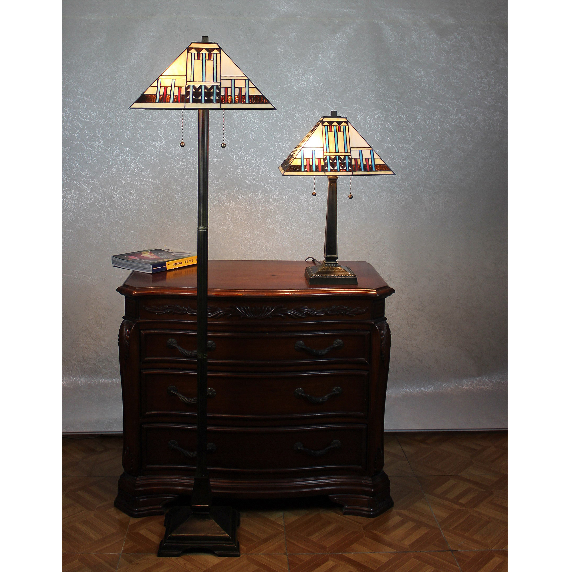 Serena d'italia Blue Mission Table and Floor Lamp Set