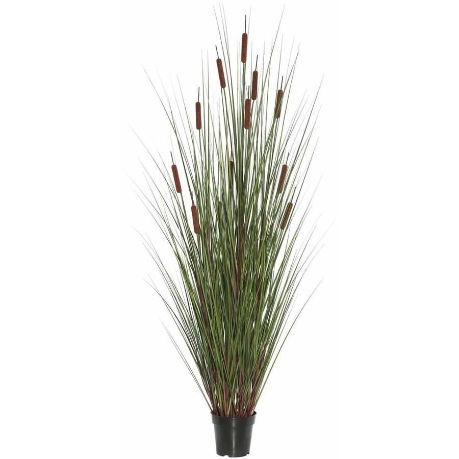"Vickerman 60"" Artificial Potted Green Straight Grass Features 12 Brown Cattails"