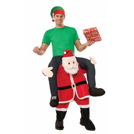 Mens 42-44 Riding Santa Special Delivery Christmas Plush Mascot Costume - Santa Mascot Costume