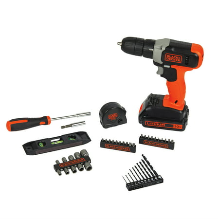 - BLACK+DECKER 20-Volt Lithium Cordless Drill With 44 Piece Project Kit, BCD70250PKWM
