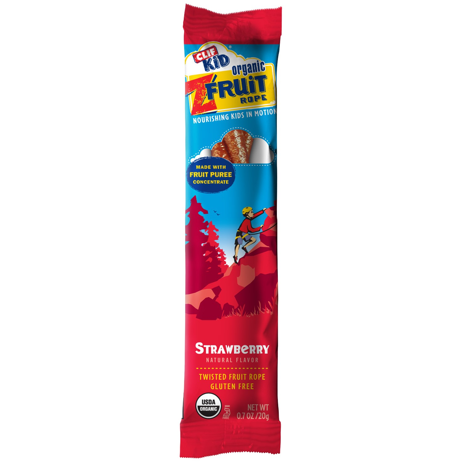 CLIF Kid Organic Z Twisted Fruit Snack, Strawberry, 0.7 Oz, 18 Ct