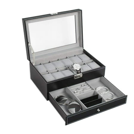 NEX Double Layer Watch Organizer- 12 Slot Watch Case with Display Glass and Jewelry Tray Drawer (NX-A011)