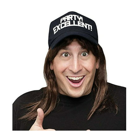 Excellent! Hat with Attached Wig Waynes World Waynestock Wayne Campbell Party (Wayne Wig)
