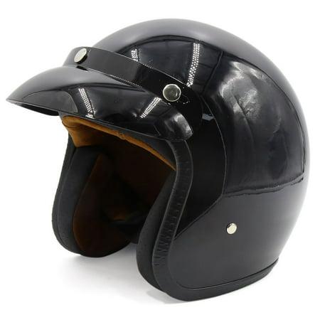 Glossy Black 3/4 Open Face Motorcycle Helmet Head Guard w Detachable Visor
