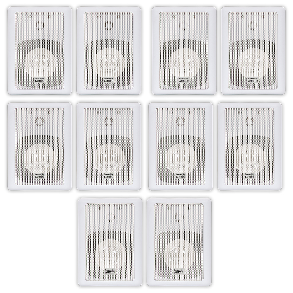 Image of Acoustic Audio 151W Indoor Outdoor 2 Way Speakers 3000 Watt White 5 Pair Pack 151W-5Pr