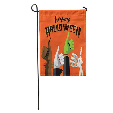 LADDKE Flat Happy Halloween Thumbs Up Werewolf Witch Zombie and Skeleton Garden Flag Decorative Flag House Banner 12x18 inch - Happy Tree Friends Halloween Zombie 2017
