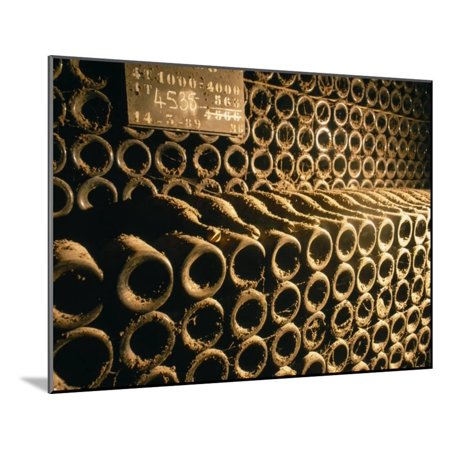Close-up of Wine Bottles in a Cellar of Bollinger, Ay, Champagne, France Wood Mounted Print Wall Art