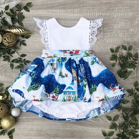 XIAXAIXU Toddler Newborn Infant Baby Girls Blue City Printed Ruffle Sleeved Princess Lace Romper Dress Party Dresses](Party City Oshkosh)