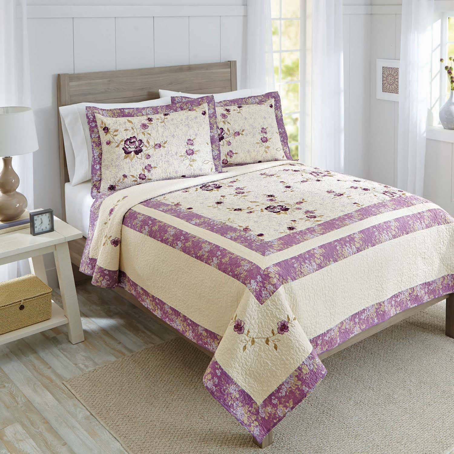 Better Homes and Gardens Purple Blossom Quilt Collection - Walmart.com : purple quilted bedspreads - Adamdwight.com