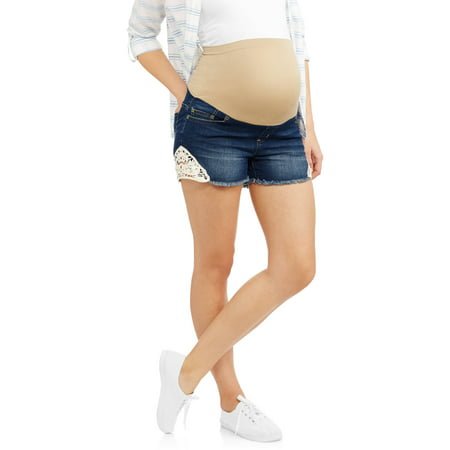 bfefb477c5721 Planet Motherhood - Planet Motherhood Maternity Over Belly Seamless banded,  Fringe Bottom, Denim Short with Crochet Lace Medallion Trim --Available In  Plus ...