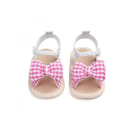 Lavaport Cute Baby Girl Bowknot Plaid Sandals Soft Sole Anti-slip Shoes 0-18M